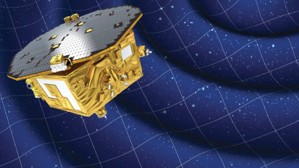 Künstlerische Darstellung von LISA Pathfinder, dem technologischen Wegbereiter für ein Gravitationswellen-Observatorium, das voraussichtlich ab 2034 ins Universum «lauschen» soll.