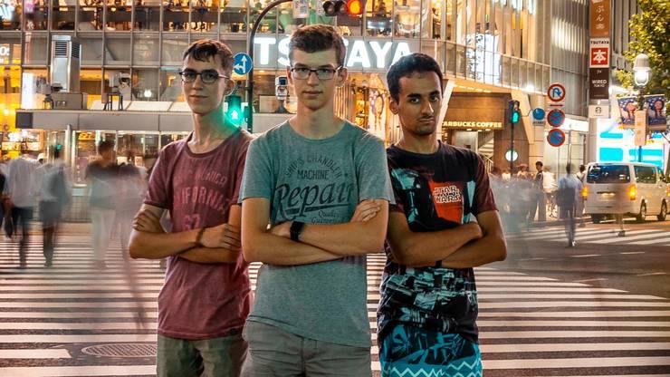 Die Schweizer Teilnehmer Elias Boschung, Nicolas Camenisch und Bibin Muttappillil. Es fehlt: Valentin Imbach.