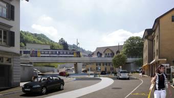 So sollen der Kreisel und die Eisenbahnbrücke in Zukunft aussehen.