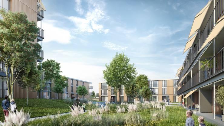 Darum geht es am 1. Dezember: Der ehemalige Sportplatz Riburg soll überbaut werden. Hier eine Visualisierung der Überbauung. zvg