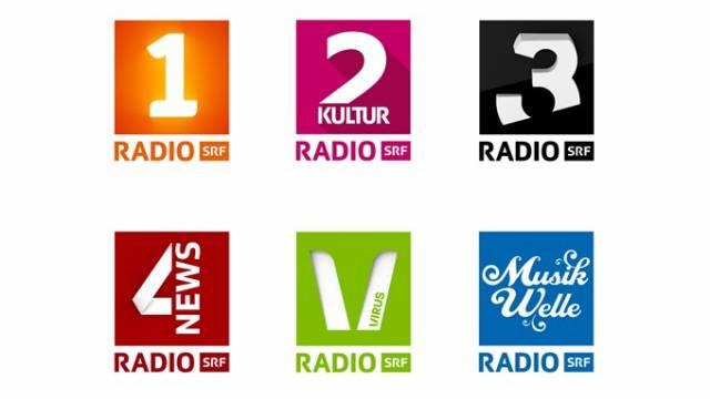 Bei Fachleuten umstritten: Die neuen Logos von Radio SRF, bei denen die Zahl im Vordergrund steht. Foto: SRF