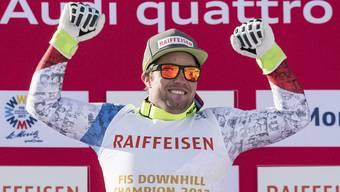 Abfahrtsweltmeister 2017 Beat Feuz hat allen Grund zum Jubeln.