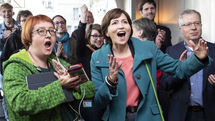 Grünen-Präsidentin Regula Rytz hatte am Wahlsonntag alle paar Minuten Grund zur Freude.