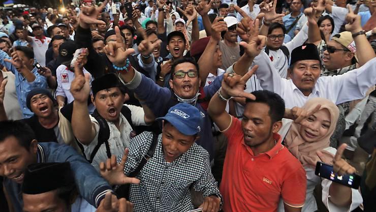 Anhänger von Oppositionskandidat Prabowo Subianto in Jakarta.