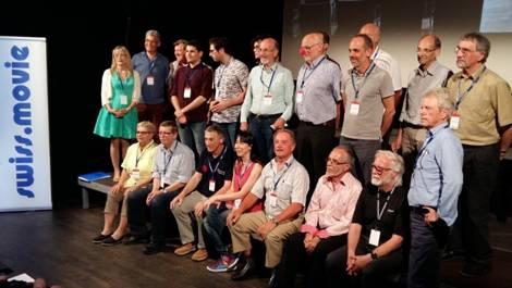 Die Filmautoren nach der Preisverleihung. Links die Jury-Präsidentin, Pia Kalatchoff  und daneben der Präsident von swiss-movie, Dr. Sydney Allanson.