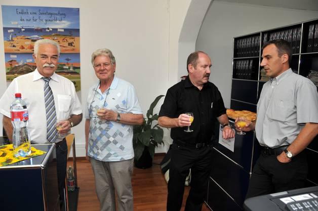 Erwin Fischer (Industrie- und Handelsverband), Hans Kübli (Gemeindepräsident Bettlach), Remo Bill (SP Grenchen) und Marco Crivelli (CVP Grenchen).