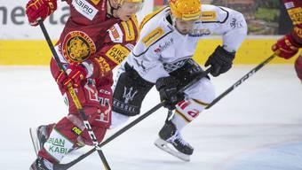Duell der Topskorer: Langnaus Harry Pesonen (links) gegen Luganos Luca Fazzini