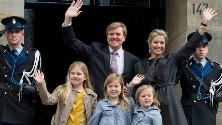 Die neue Königsfamilie: Alexander-Willem, Maxima und ihre Töchter Amalia, Alexia und Ariane. keystone