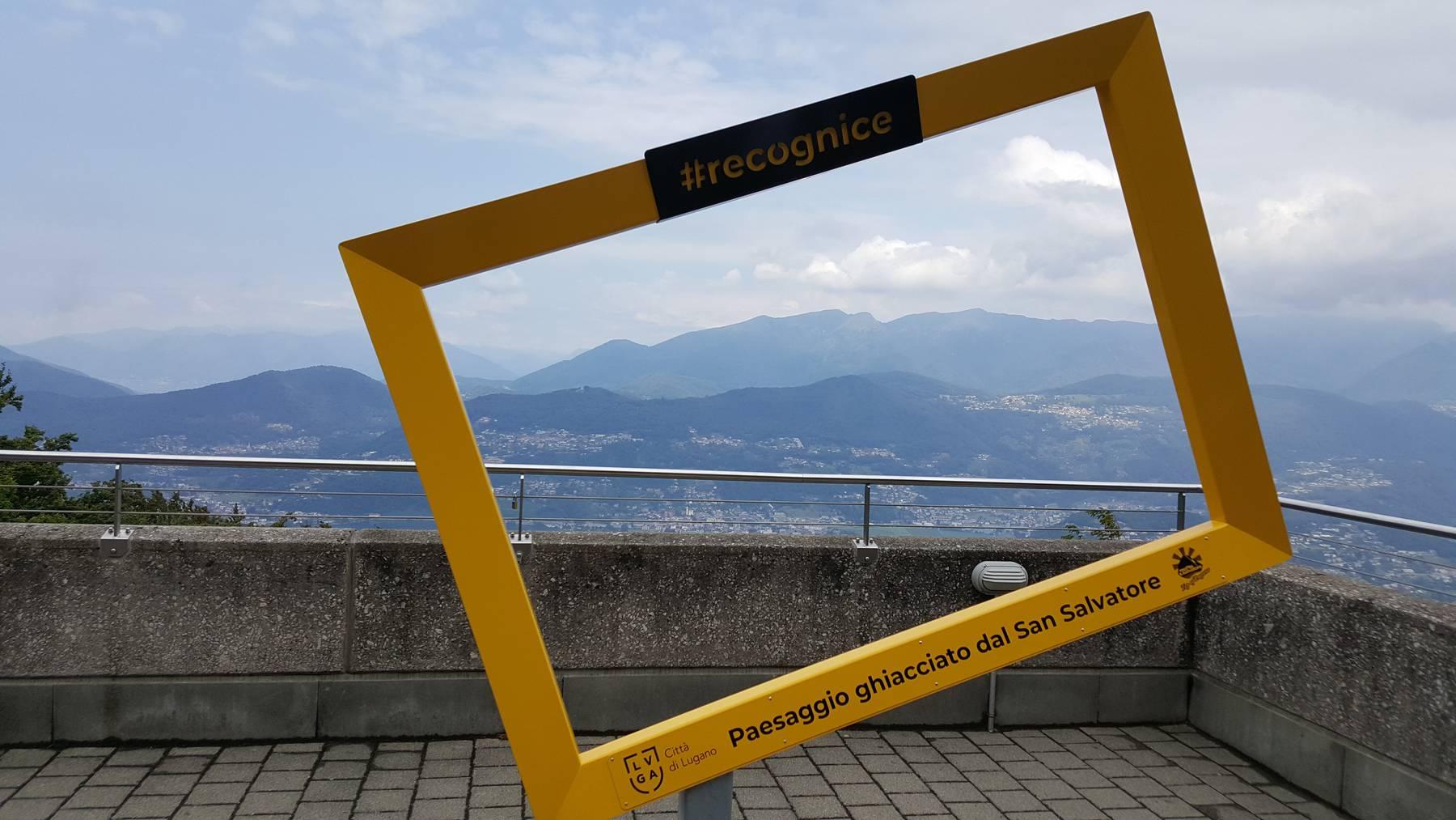 Dieser gelbe Bilderrahmen auf dem San Salvatore oberhalb von Lugano gibt – bei schönem Wetter – die Sicht frei auf 16 Gletscher.
