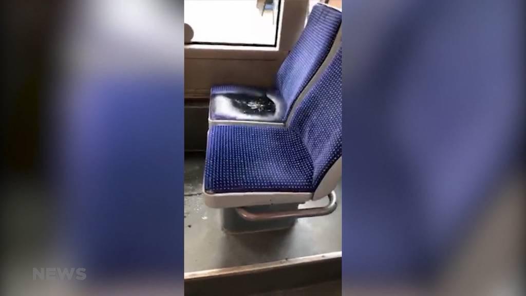 Leck in Heizung: Pechschwarze Flüssigkeit duscht RBS-Passagiere