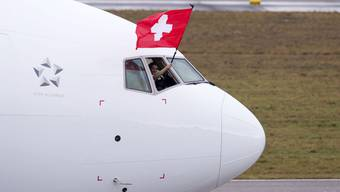 «The Eagle has landed»: Die Boeing 777, genannt «Triple Seven», bei der Ankunft in Zürich.