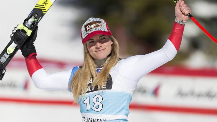 Lara Gut-Behrami gewinnt die Abfahrt in Crans-Montana. (Bild: Cyril Zingaro/Keystone, 21. Februar 2020)
