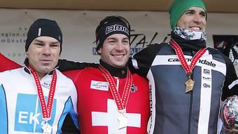 Sieger Taramarcaz (mitte) mit Zahner (2., links) und Heule (3.)