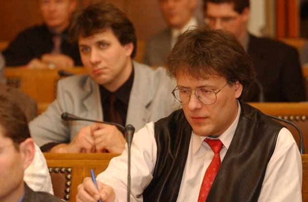 Die Brüder Jürg (vorne) und Stefan Liechti 2002 im Kantonsrat. Bis 2005 sassen sich zusammen im Parlament.