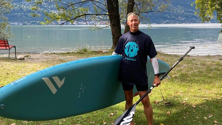 Von Brissago aus ging es auf dem Stand-up-Paddle über den Lago Maggiore.