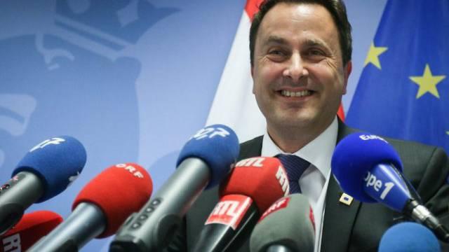 Der luxemburgische Premier Xavier Bettel vor den Medien in Brüssel