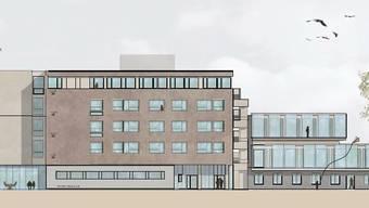 Blick auf die Südfassade: Wegen fehlender Landreserven ist vorgesehen, die heutigen Gebäude aufzustocken.