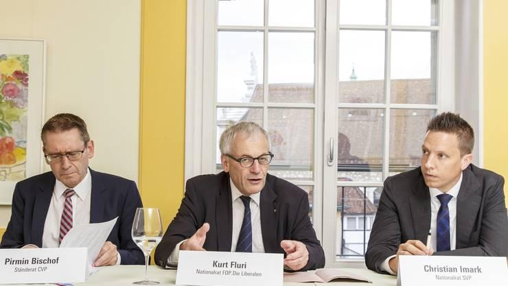 Die bürgerlichen Politiker Pirmin Bischof (CVP), Kurt Fluri (FDP) und Christian Imark (SVP) (v.l.) sind für ein Ja zum Nachrichtendienstgesetz.