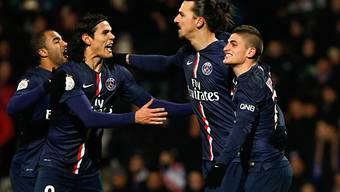 Ibrahimovic (2.v.r.) traf gegen Lyon zum 1:1-Schlussresultat