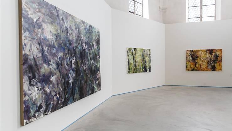 «Suddenly I stop» nennt Martin Reukauf seine Ausstellung im Haus der Kunst. Er malt den Wald im Wald.