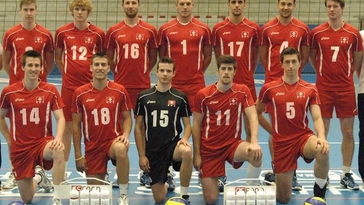 Das Schweizer Nationalteam mit den drei Akteuren vom TV Schönenwerd Reto Giger, Christoph Hänggi und Fabian Brander (hinten von links).ZVG