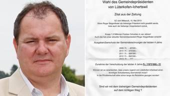 Roger Siegenthaler wird in einem anonymem Schreiben angegriffen.