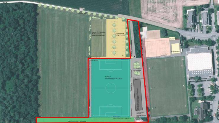 Der Kanton plant laut Richtplan-Entwurf eine neue Teilumfahrung Reinach Süd. Doch auf dem vorgesehenen Trassee sind schon Sportplätze geplant.