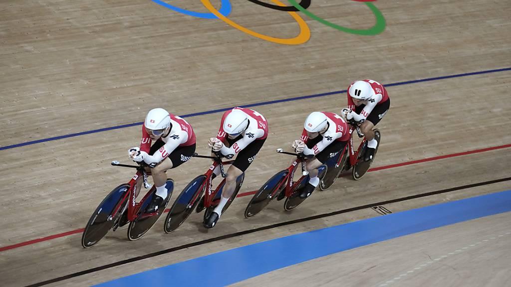 Der Schweizer Bahnvierer konnte auf der olympischen Bahn in Tokio am Dienstag den Schweizer Rekord senken.