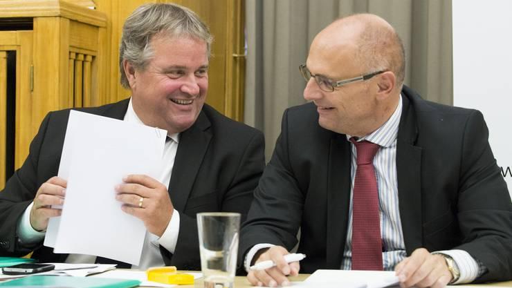Sie unterhalten sich anlässlich einer Medienkonferenz der SVP des Kantons Zürich zu den Kosten der Sozialhilfe.