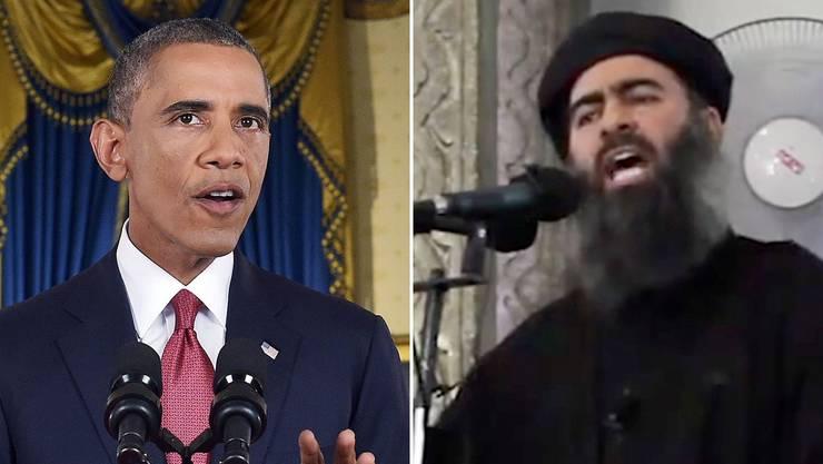 US-Präsident Obama (l.) will nicht nur mit Worten zurückschlagen. Rechts: «IS-Kalif» Abu Bakr al-Bagdadi