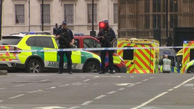 Mann fährt mit Auto in Absperrung vor Londoner Parlament