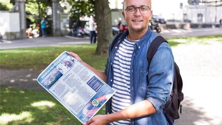 Der Therwiler Raphael Brodbeck vor seinem Abenteuer Anfang August.