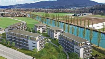 Visualisierung des «Huttler-Parks»: Fünf Mehrfamilienhäuser sind geplant. Momentan läuft die Vorprüfung des Gestaltungsplans.