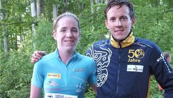 Die Sieger des Gempen-Berglaufs: Martina Strähl und Anders Homberg.