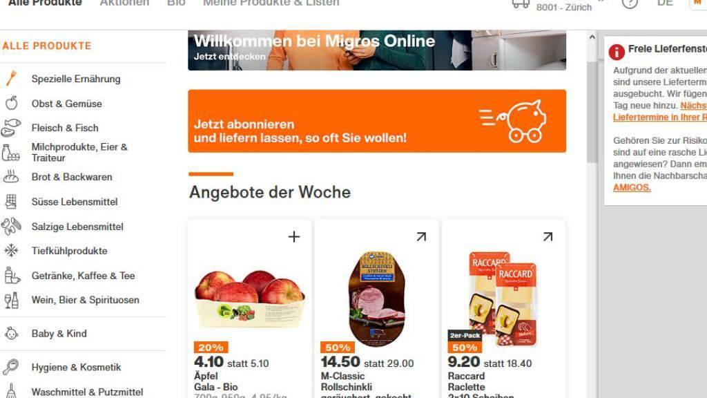 Die Migros hat den Internetsupermarkt LeShop in die eigene Migros Online integriert. (Screenshot)