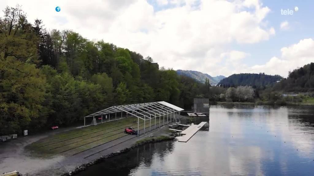 Aufbauarbeiten für Rotsee Ruderrennen beginnen