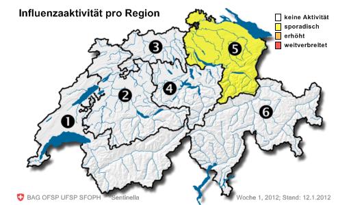 Influenzaaktivität pro Region