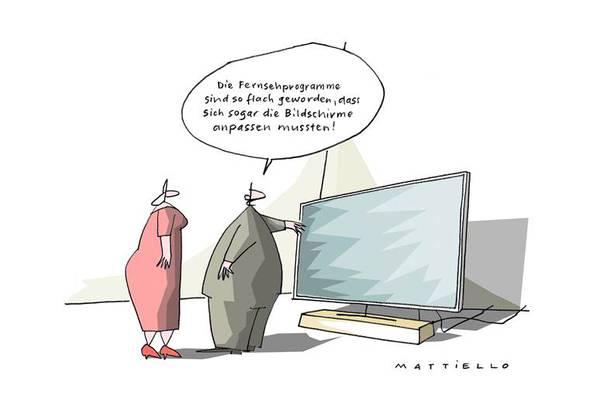 Mattiello setzt die neuen Flaschbildschirme mit dem Fernsehprogramm in Verbindung