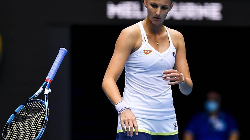 Wegen Racket-Werfens kriegte die frustrierte Karolina Pliskova zu Beginn des zweiten Satzes sogar einen Punktabzug