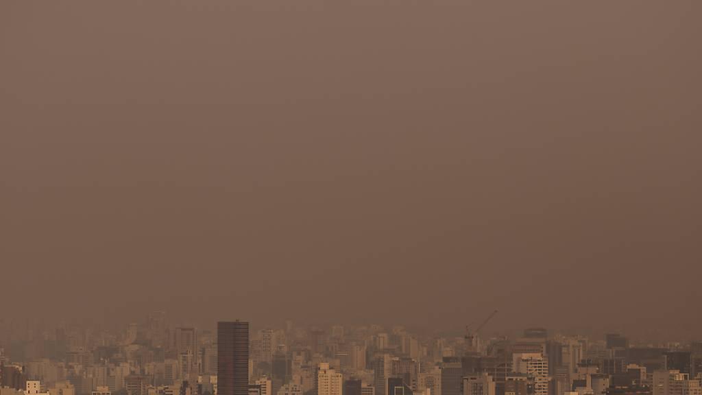 Rauchwolken ziehen über Sao Paulo, als das Pantanal, das weltgrößte Feuchtgebiet, in Flammen steht. Das Feuer soll in diesem Jahr bereits zehn Prozent des Pantanals zerstört haben. Foto: Andre Lucas/dpa