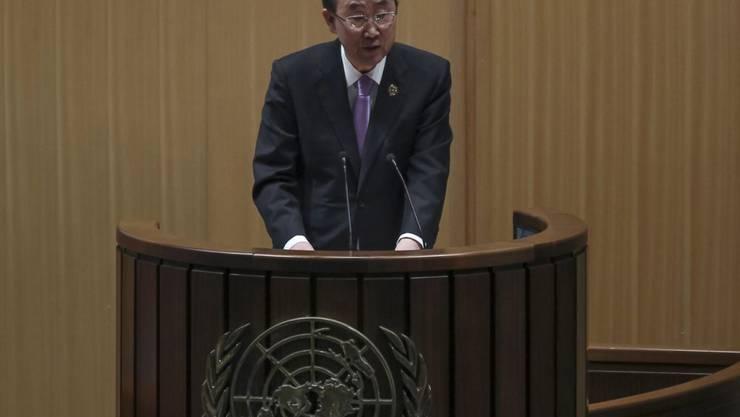 UNO-Generalsekretär Ban Ki Moon lobte in Addis Abeba die Anstrengungen gegen AIDS.