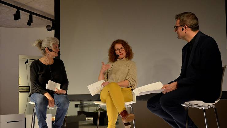 Diskussion mit Ewa Jonsson Frey, Erika Hebeisen und Claudio Miozzari (v.l.).