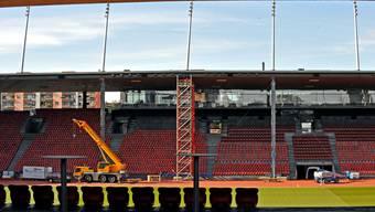 Letzigrund: Alle 31 Dachträger werden mit Stahlstützen gesichert. Die Sicht aufs Spielfeld wird wohl leiden. (Andy Mueller/EQ Images)