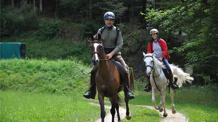 Theo und Madeleine Bösiger bestreiten selber immer wieder Distanzrennenim In- und Ausland, hier auf einem Distanzritt in Rapperswil.