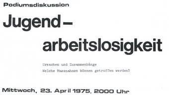 Plakat der «Progressiven Lehrlinge» aus dem Jahr 1975