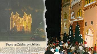 Jeden Tag versammelten sich Kinder und Eltern vor dem «Falken», um zu sehen, wie das Türchen geöffnet wurde (links). Auch die lokale Presse berichtete regelmässig über das Adventsschloss.
