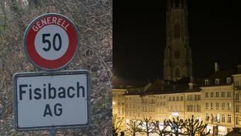 Fisibach macht bei der Earth Hour und ist damit die kleinste Gemeinde in der Schweiz (rechts im Bild Fribourg).