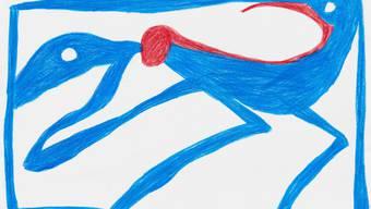 Farbstiftzeichnung von Otto Lehmann aus der Serie « Noli me tangere» (Rühr mich nicht an). Verbeisst sich hier ein Wesen in das Hinterteil eines anderen? (Bild:Kunstmuseum Solothurn)
