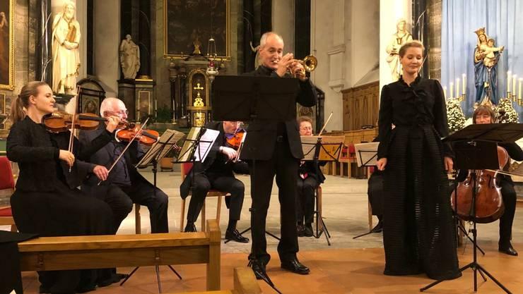 Heinz Rauch und Carmela Konrad in der Stadtkirche Baden. Bild: zvg
