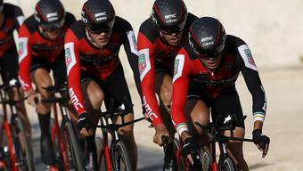 """Das Team BMC - im Bild im Teamzeitfahren an der Vuelta - gewann an der WM in Bergen """"nur"""" Silber"""